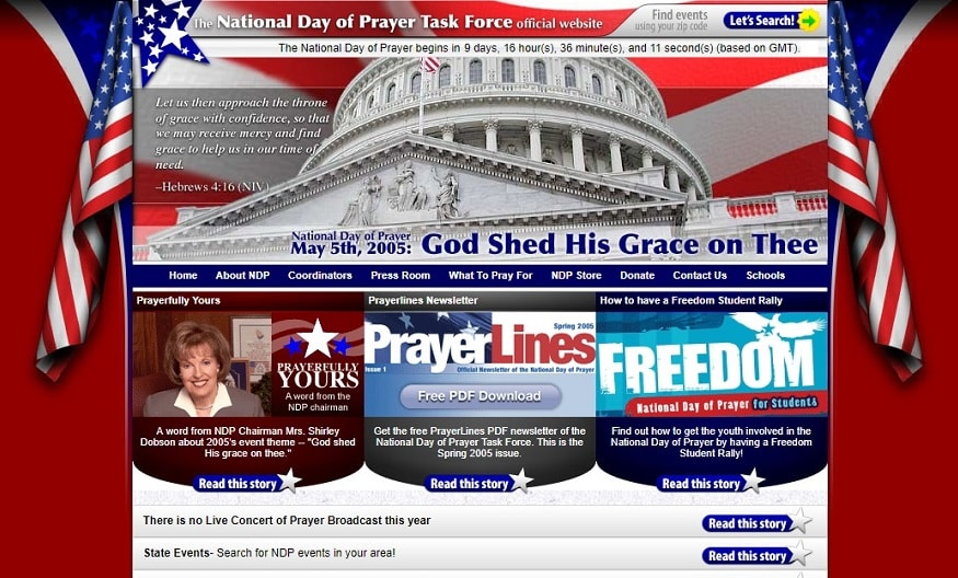 The National Day of Prayer Task Force's 2005 website