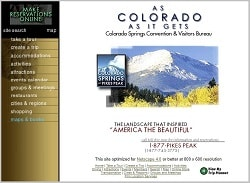 Colorado Springs Convention and Visitors Bureau website, spring, 1999